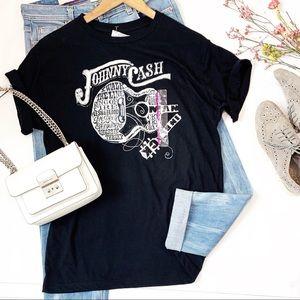 Johnny Cash Concert Graphic T Shirt Short Sleeve